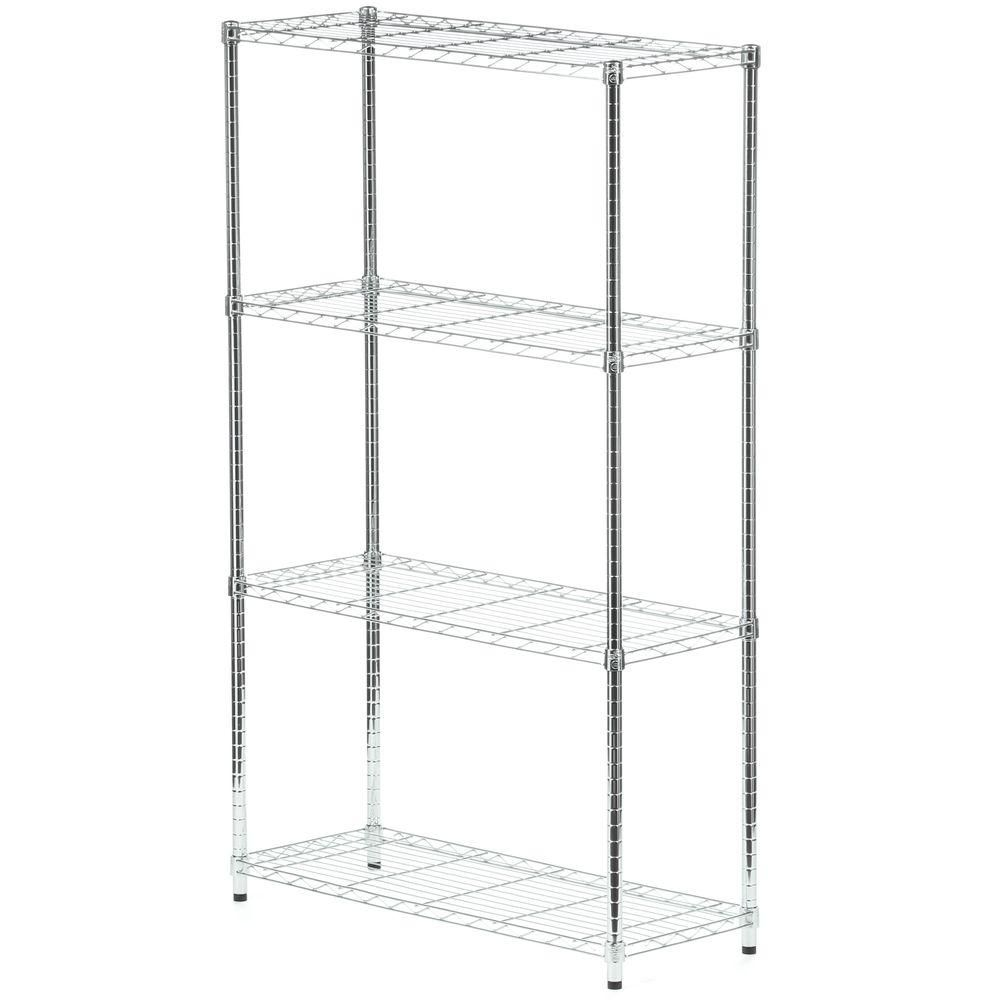 Honey-Can-Do International 4-Shelf 60-inch H x 36-inch W x 14-inch D Steel Shelving Unit in Chrome