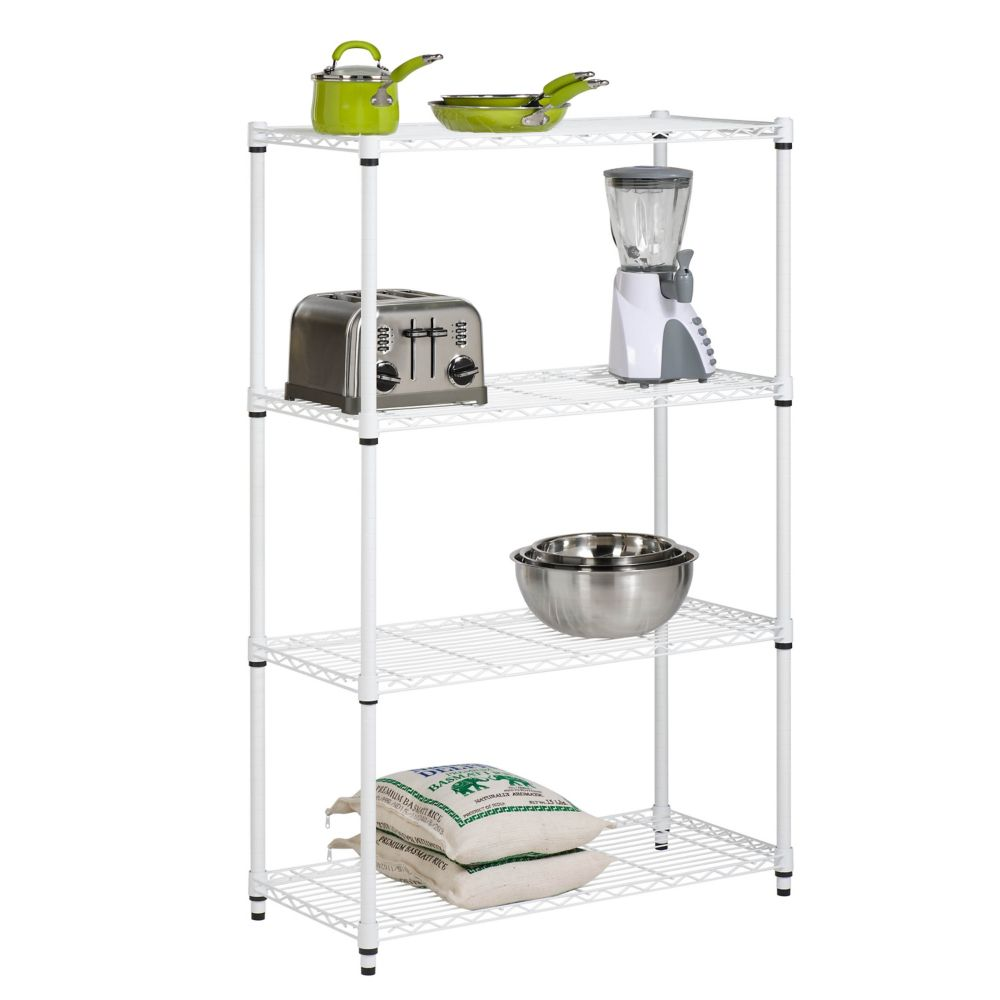 4-tier white shelving unit - 250 lbs per shelf