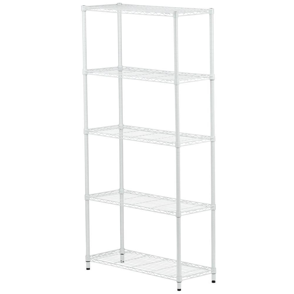 5-tier white storage shelves - 200 lbs per shelf
