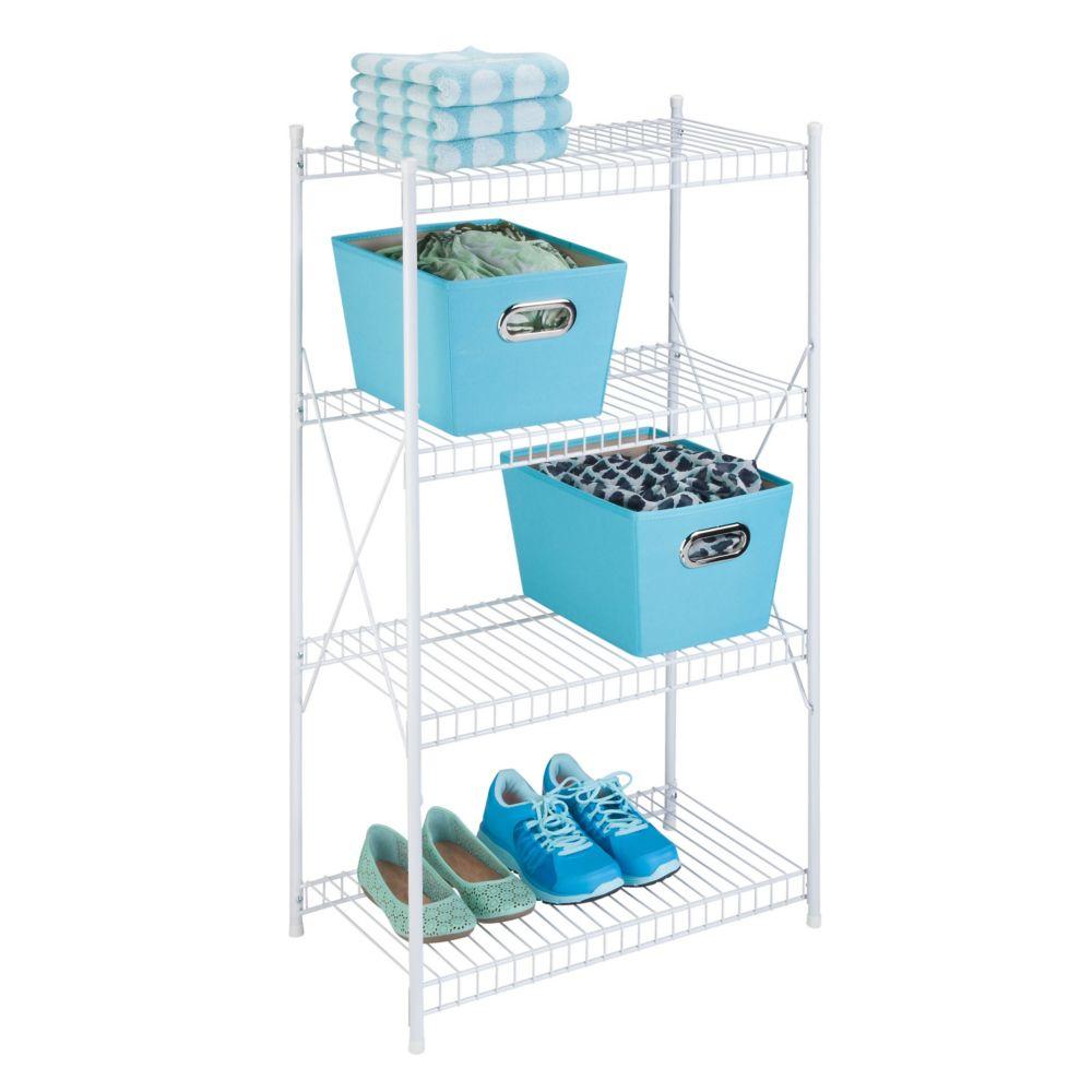 4-tier storage shelf, white wire