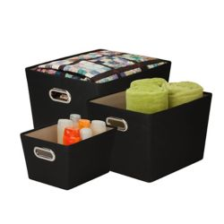 Honey-Can-Do Lot de bacs de rangement, noir