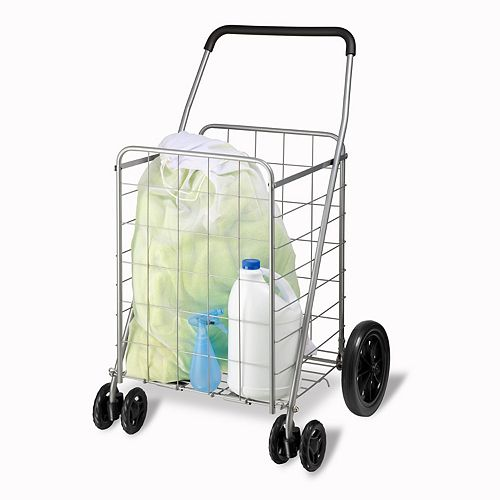 Honey-Can-Do Steel Rolling Dual Wheel Utility Cart in Grey