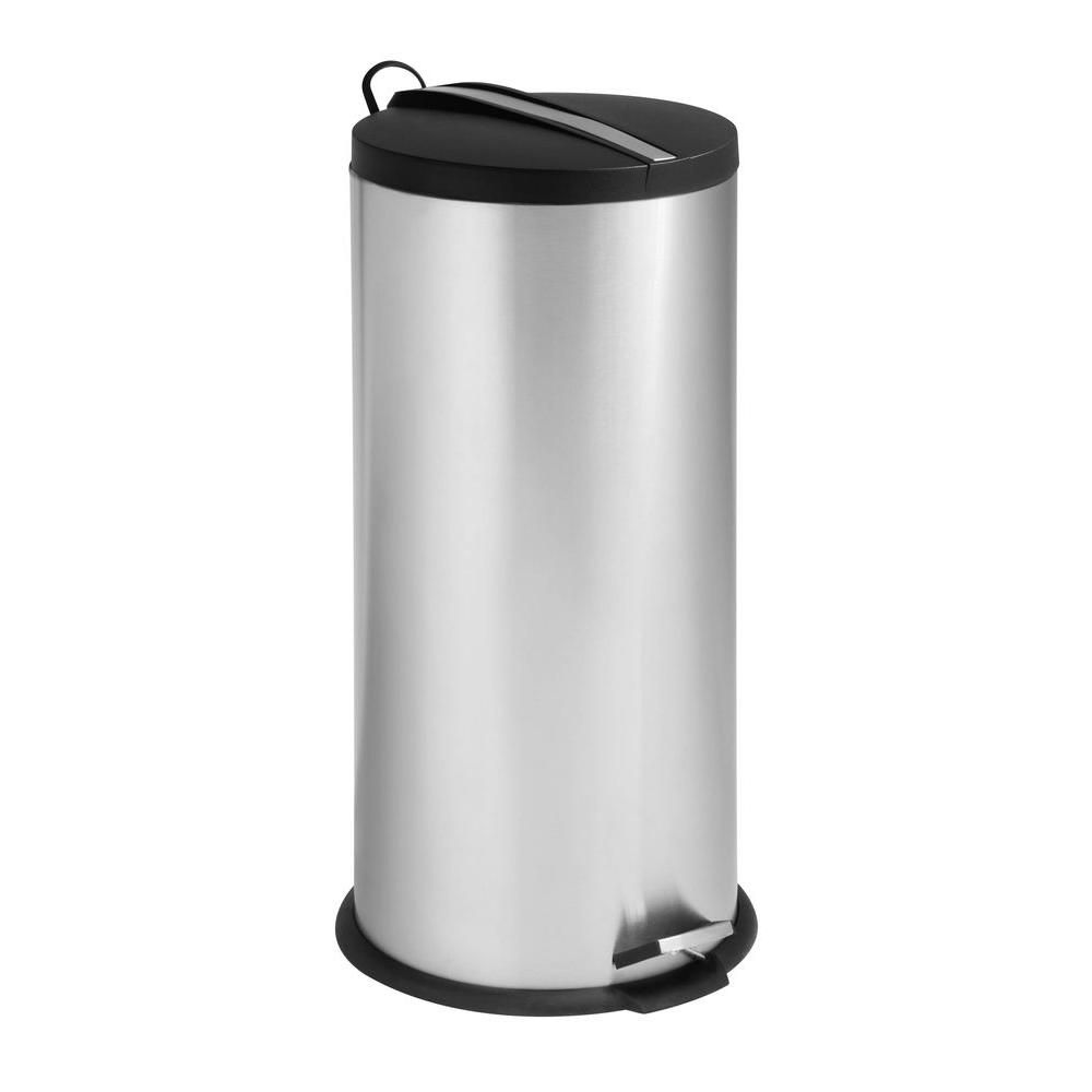 30L round stainless steel step trash can with chrome insert, chrome
