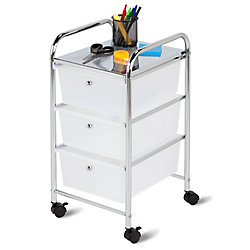Honey-Can-Do International 3-Drawer Rolling Storage Cart in Chrome and White