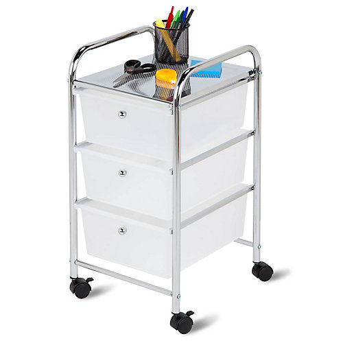 3-Drawer Rolling Storage Cart in Chrome and White