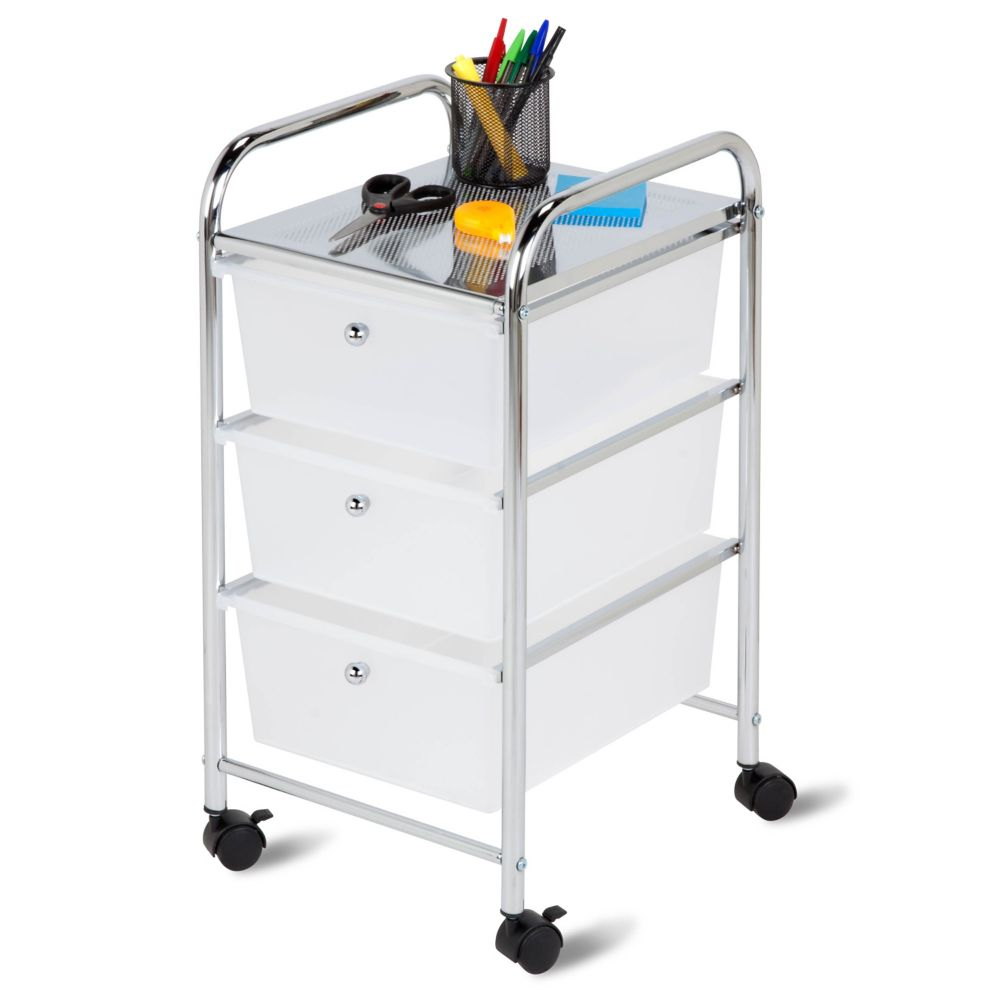 Honey-Can-Do International 3-Drawer Rolling Storage Cart in Chrome/White