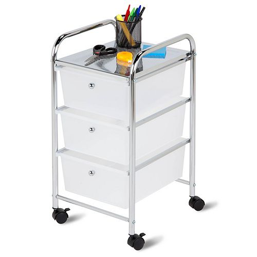 Honey-Can-Do 3-Drawer Rolling Storage Cart in Chrome and White