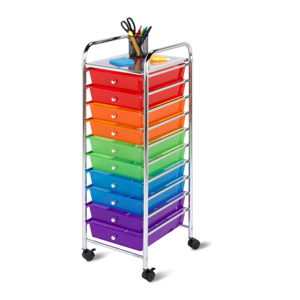 10-Drawer Multi-Colour Rolling Storage Cart