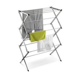 Honey-Can-Do International Accordion Drying Rack with 24 ft. of Drying Area in Chrome