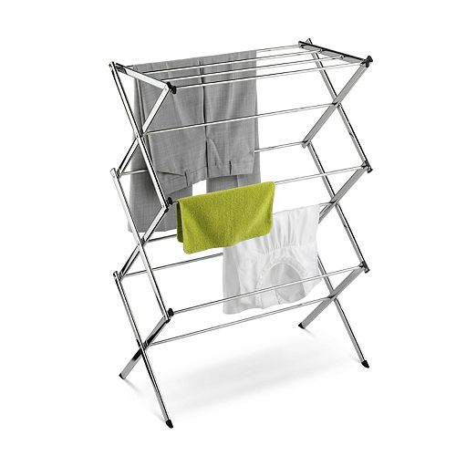 Honey-Can-Do Accordion Drying Rack with 24 ft. of Drying Area in Chrome