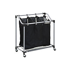 Honey-Can-Do International Triple Laundry Sorter with Mesh Bags, Steel/Black