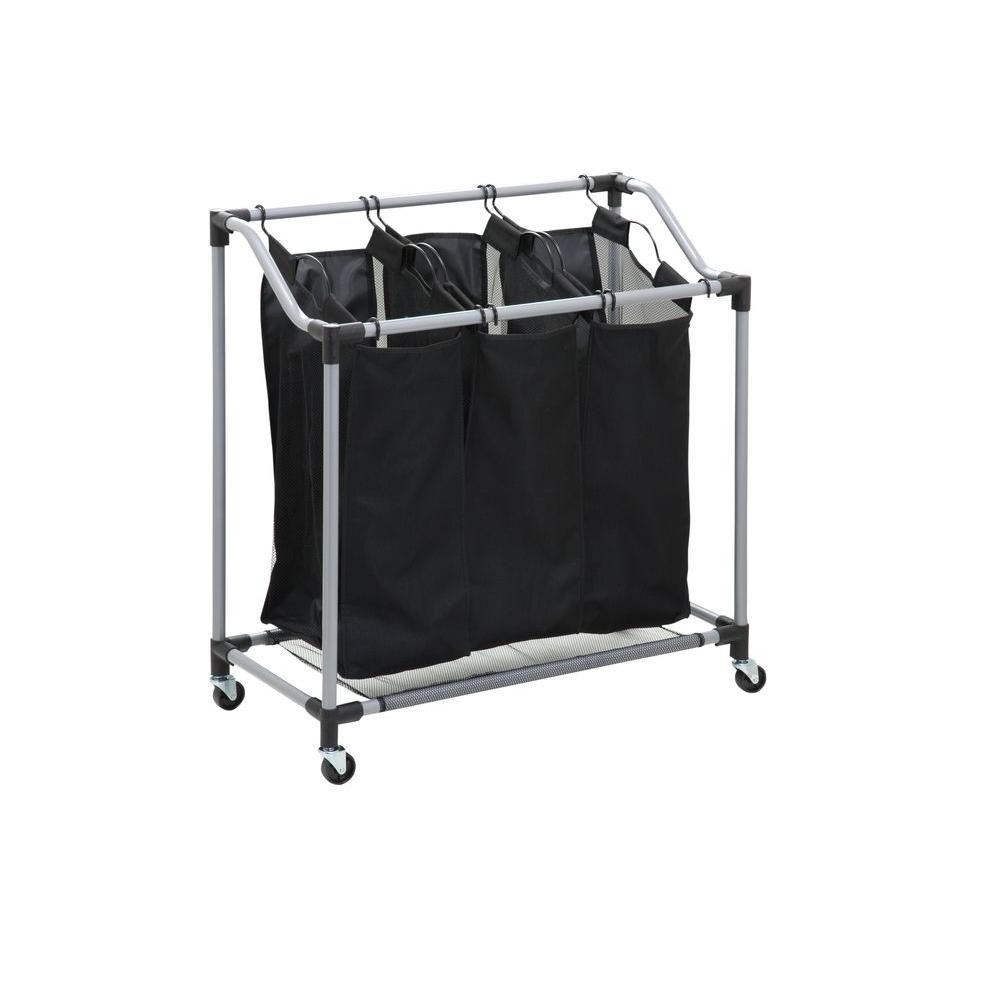 Honey-Can-Do International Triple Laundry Sorter with Mesh Bags, Steel/Black