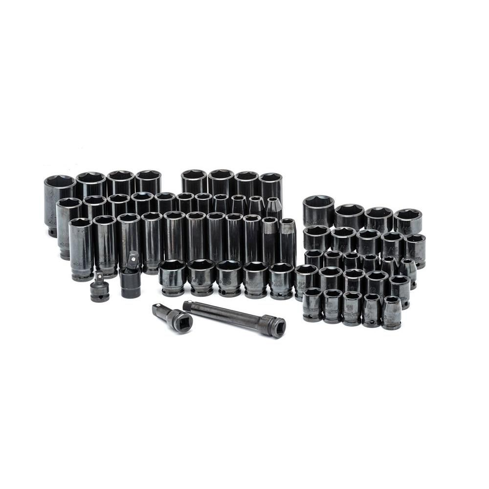 HUSKY 64pc 1/2 Inch Drive Sae/Mm Impact Socket Set