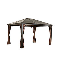 Sumatra 10 ft. x 12 ft. Sun Shelter Gazebo in Dark Brown