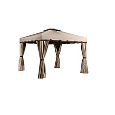 Romano 10 ft. x 14 ft. Sun Shelter Gazebo in Beige and Brown