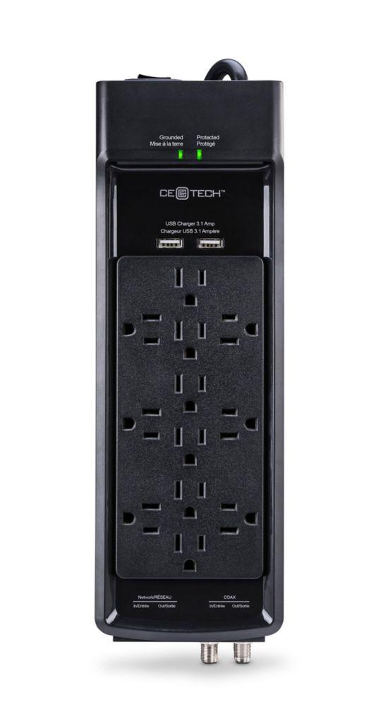 PARASURTENSEUR À 12 PRISES AVECCÂBLE USB COAXIAL NOIR DE 6 PI