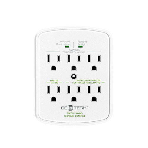 6-Outlet Surge Protect Energy Saving Wall Tap in White
