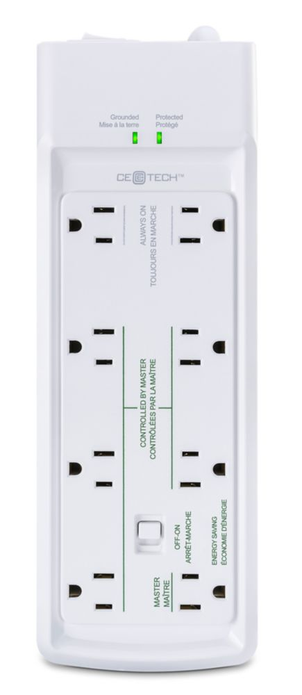 Commercial Electric 4 ft. 8-Outlet Surge Protect Energy Saving Power Bar in White