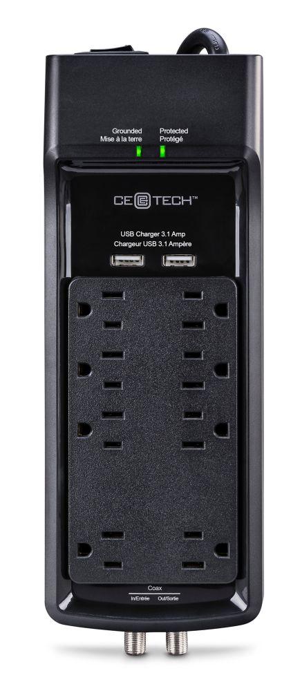 PARASURTENSEUR À 8 PRISES AVEC CÂBLE USB COAXIAL NOIR DE 6 PI