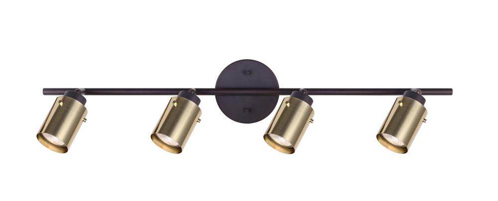 Accueil Décorateurs Caymus 4 lumière eclairage sur rail de huilé bronze avec des nuances de cuivr...
