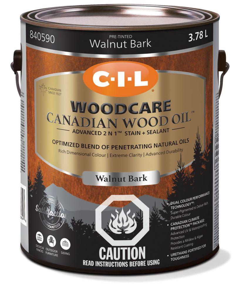 CIL Traite-Bois huile de bois canadien - Écorce de noyer, 3,78 L