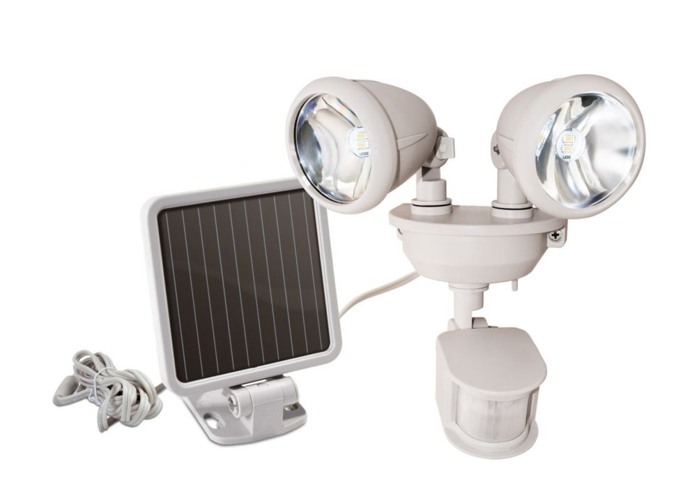 Maxsa Innovations Solar Powered Spotlight sécurité Dual-Head - Blanc Cassé