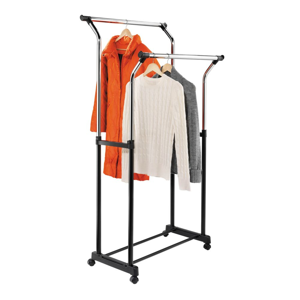 adjustable height  flared double garment rack