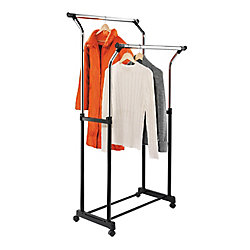 Honey-Can-Do Dual Bar Adjustable Steel Rolling Garment Rack in Chrome