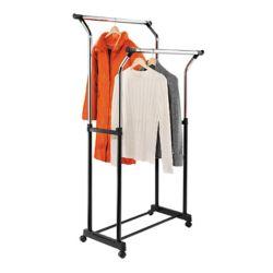 Honey-Can-Do International Dual Bar Adjustable Steel Rolling Garment Rack in Chrome