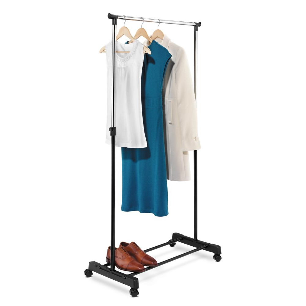 adjustable height garment rack, chrome/black