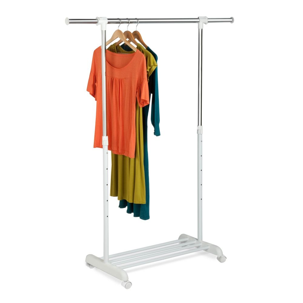 single bar garment rack - white/chrome