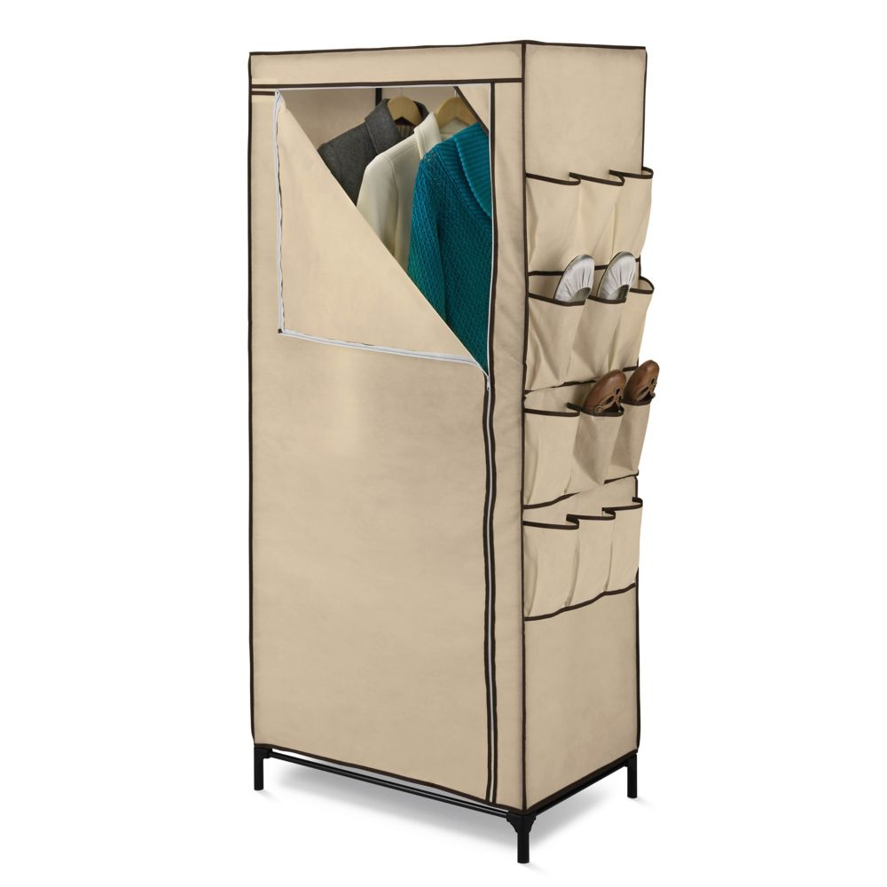 62-inch H x 27-inch W x 18-inch D Portable Closet with Shoe Organizer in Khaki
