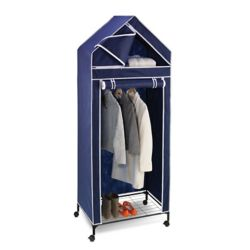 Honey-Can-Do International Portable Covered Closet Rack with Wheels in Blue