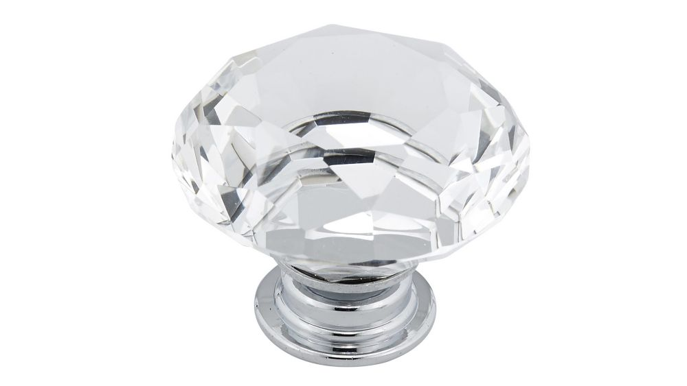 Richelieu Contemporary Crystal Knob 1 9/16 in (40 mm) Dia - Clear Chrome - Bolzano Collection