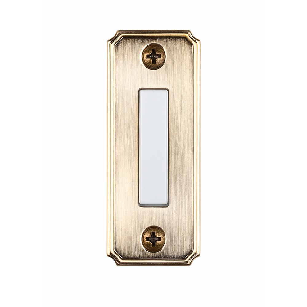 hampton bay wired lighted door bell push button aged. Black Bedroom Furniture Sets. Home Design Ideas