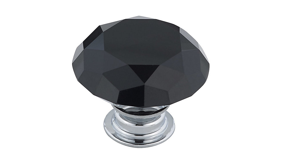 Contemporary Crystal Knob 1 9/16 in (40 mm) Dia - Chrome Black - Bolzano Collection