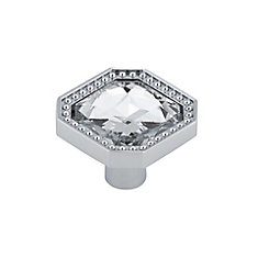 Contemporary Metal and Crystal Knob  Crystal Chrome - Merritt Collection