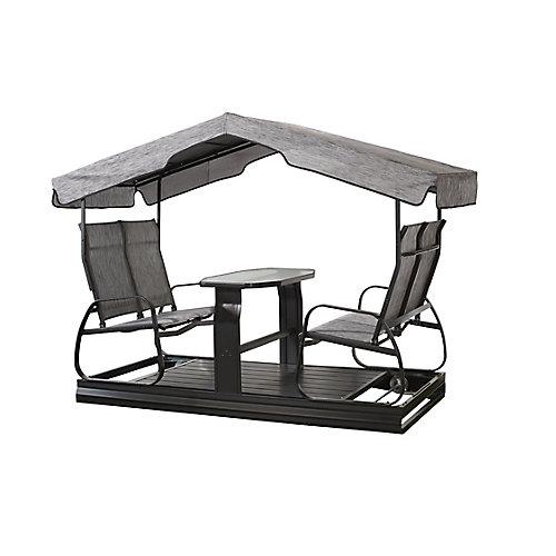 4-Seater Garden Swing in Charcoal