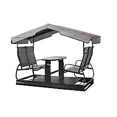 4-Seater Garden Swing in Charcoal