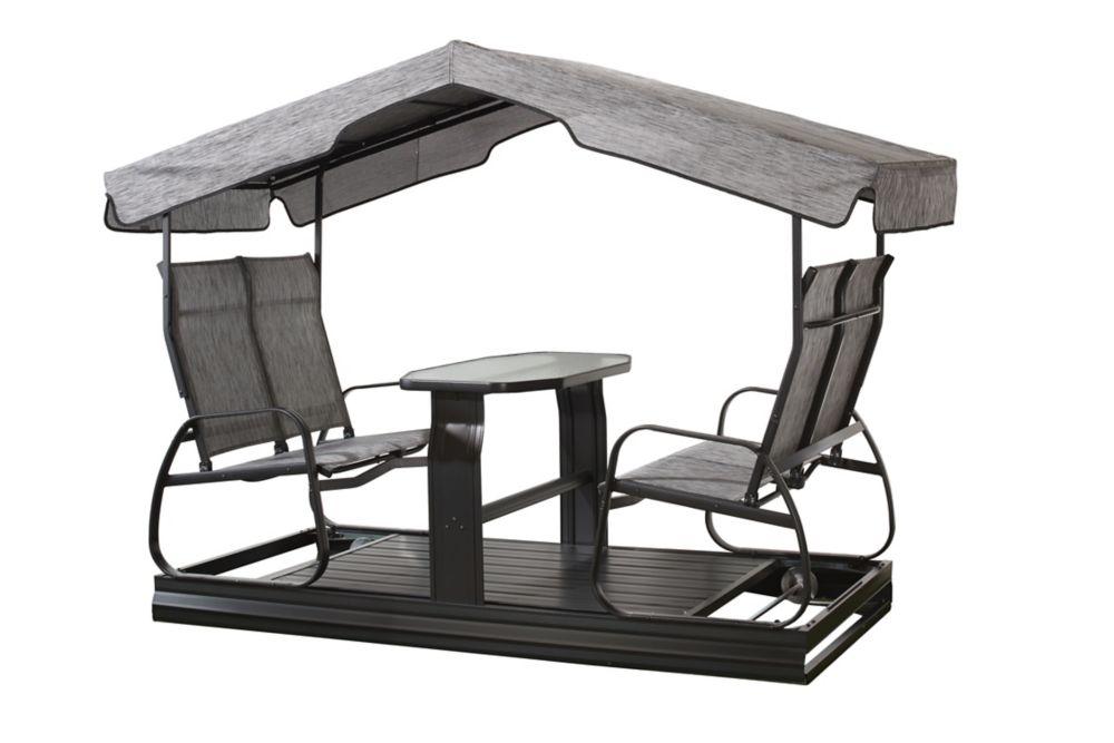 4 seater garden swing in charcoal patio swings  u0026 hammocks   the home depot canada  rh   homedepot ca