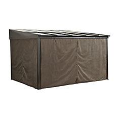 Pompano 10 ft. x 10 ft. Gazebo Polyester Privacy Curtains in Dark Brown