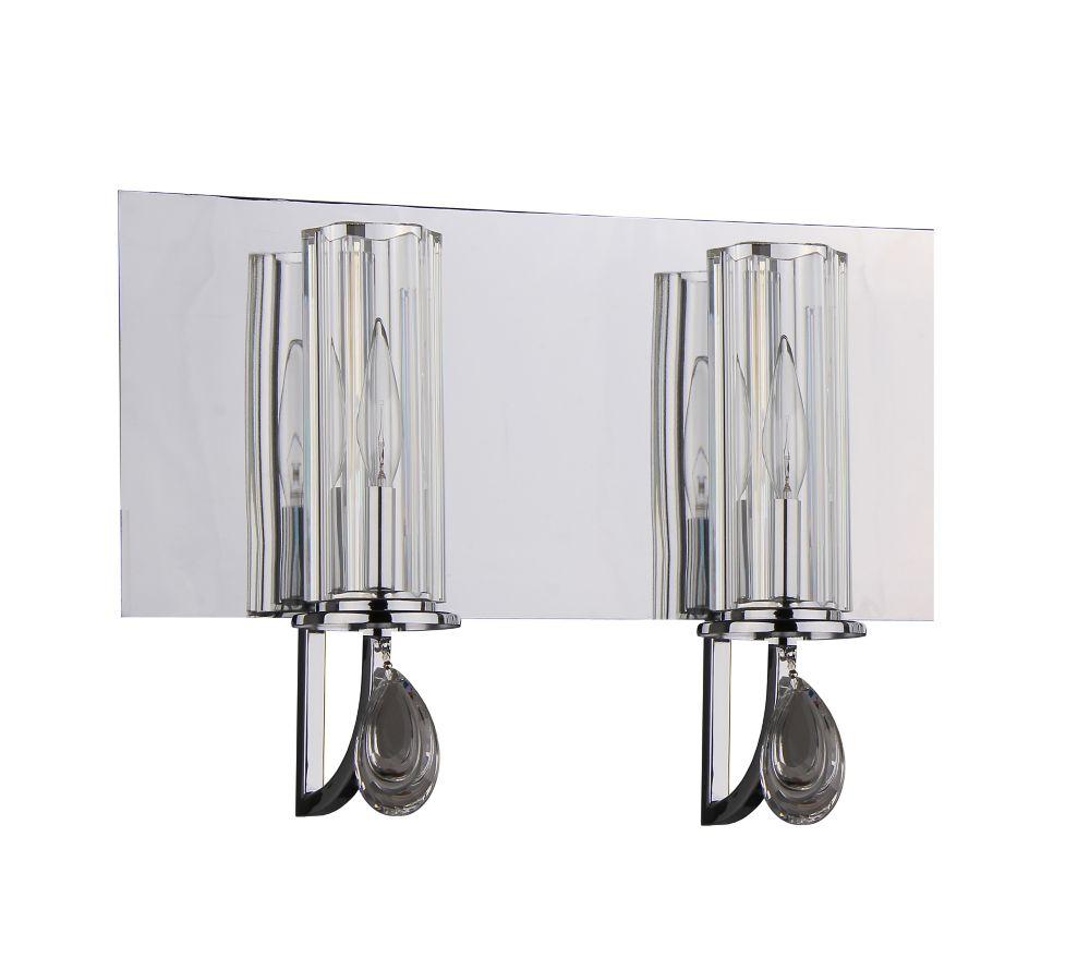2 Light Bathroom Vanity, Chrome Finish
