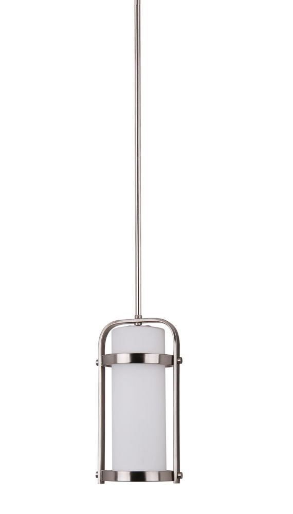 1 Light Mini Pendant, Brushed Nickel Finish