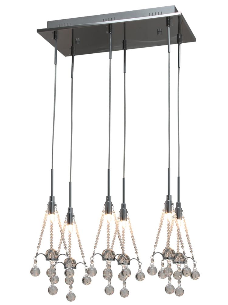 6 Light Pendant, Chrome Finish