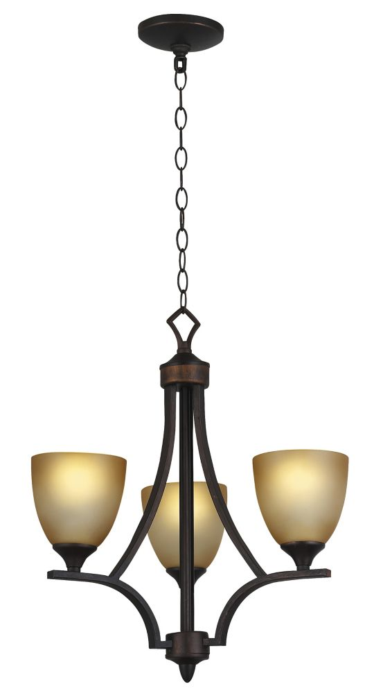 3 Light Chandelier, Weathered Bronze Finish