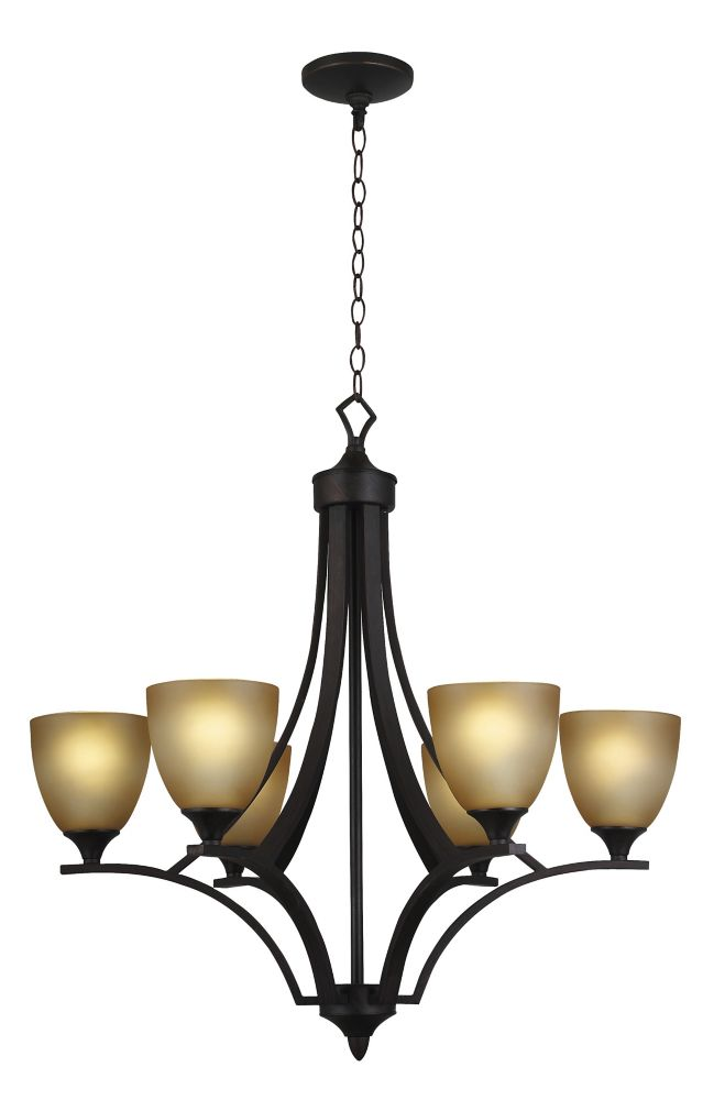 6 Light Chandelier, Weathered Bronze Finish