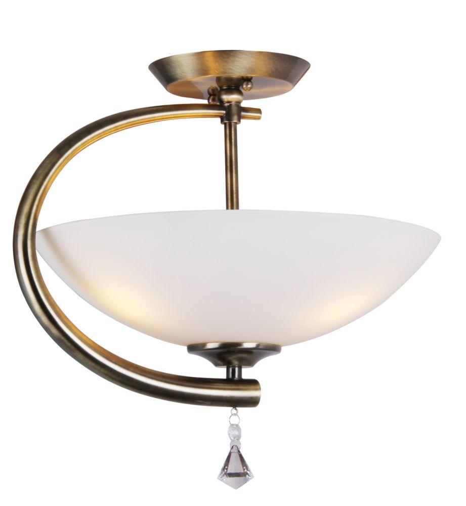 2 Light Semi-Flush Mount, Antique Brass Finish