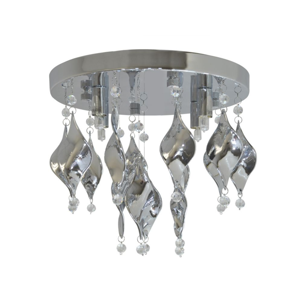 4 Light Flush Mount, Chrome Finish