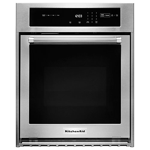 24-inch 3.1 cu. ft. Single Electric Wall Oven Self-Cleaning with Convection in Stainless Steel