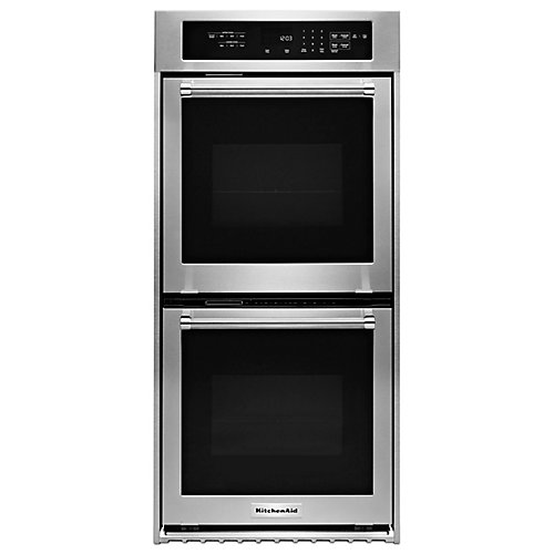 24-inch 3.1 cu. ft. Double Electric Wall Oven Self-Cleaning with Convection in Stainless Steel